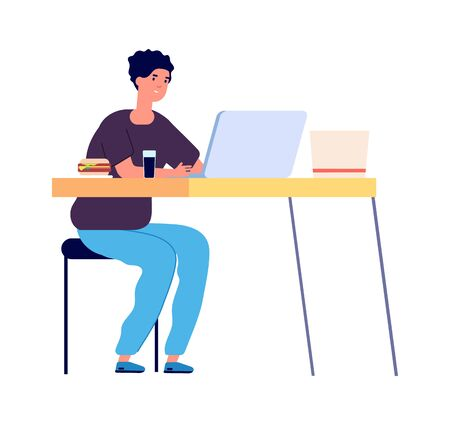 Online study. Distance learning, student watching in laptop. Internet surfing or online chatting with food and drink. Isolation period vector illustration. Student education distance use laptop Çizim