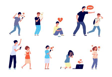 Teenage problems. Teens trouble, unhappy kids. Parents control and emotional anxiety situation. Social network bullying vector illustration. Teenager problem, social victim, bullying and harassment