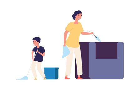Washing floor. Remove dust, home cleaning. Family spend time together. Mother and son doing housework with equipment vector illustration. Housewife housekeeping, domestic housekeeper Ilustrace