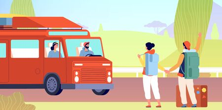 Hitchhiking. Tourists catches car on road. Flat man woman with backpack on roadside waiting taxi. Stop gesture traveller vector illustration. Tourist traveler adventure hitching, couple wait car
