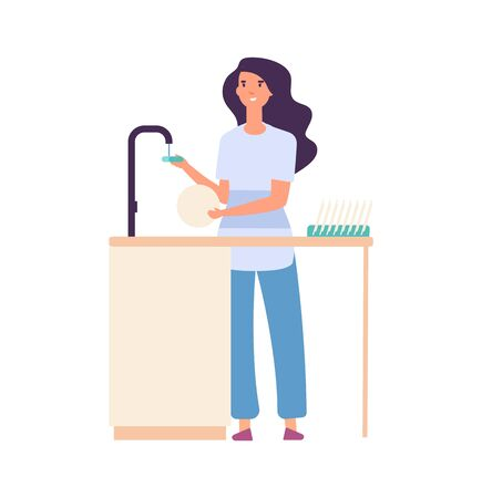 Cleaning kitchen. Woman washing dishes, dirty plate in female hands. Flat housewife, cute girl doing housework vector illustration. Housewife washing utensil, housekeeping chore Illustration