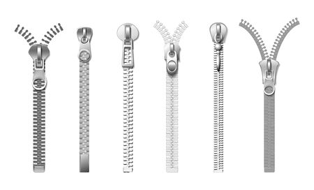 Silver zippers. Isolated realistic metal pull. Cloth fasteners, accessories for jeans, bags, coats and boots. Garments elements vector set. Fastener zip and accessories lock metal illustration