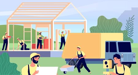 Builders building house. Construction worker carpenters, men build wood house apartment. Flat professional constructors vector illustration. House carpenter, builder construction work