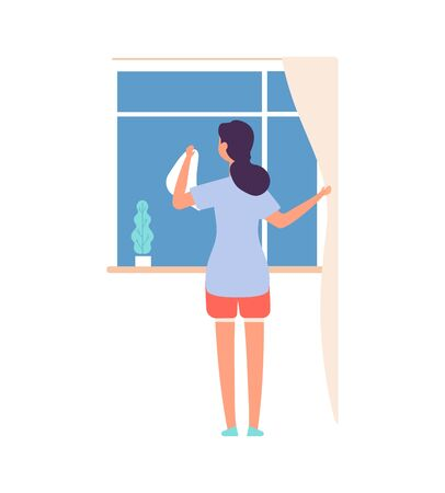 Woman washing window. Housework, cleaning service worker. Flat female with cloth, girl or housewife looking street vector illustration. Cleaner window glass, washing housework, character housekeeping Illustration