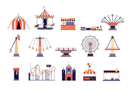 Amusement park. Fun recreation playground, amusements and carousels. Children attractions, rollercoaster and ferris wheel. Fair vector set. Amusement and rollercoaster, swing extreme illustration