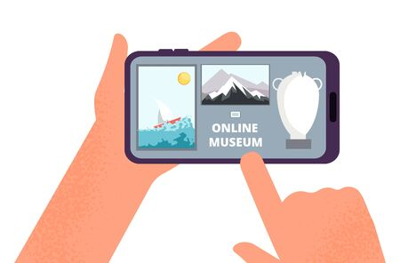 Online museum. Hands holding smartphone with tour of exhibition of paintings on Internet. Free art gallery app or guide vector illustration. Museum online gallery, internet exposition