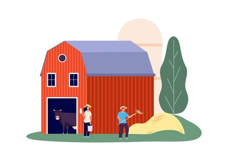 Rural farm. Animals shed, dairy products. Flat woman with bucket, man picking hay vector illustration. Cow farm and farming cattle, milkmaid and man farmer Vectores