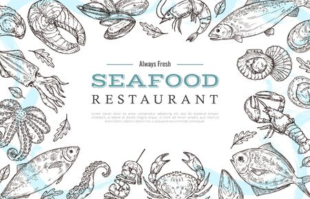 Sketch seafood banner. Drawing fish crab lobster salmon. Restaurant cafe menu vintage poster or flyer. Ocean food market vector background. Illustration seafood sketch, ocean food fish