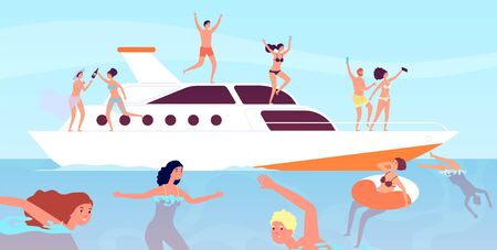 Yacht cruise. Luxury men wine party on boat. Outdoor vacation sexy professional models. Yachting, friends relax on ship vector illustration. Yacht sea, ship boat summertime, adventure transportation Çizim