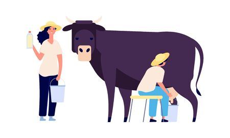 Milk farm characters. Flat cow, woman with bottle. Fresh organic products, raw for market. Isolated agricultural people working vector illustration. Farm woman and cow milk, organic product