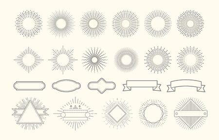 Retro starburst set. Vintage sunburst graphic elements. Sunrise circle line decorations. Badges with rays, decorative label frames vector set. Illustration radial starburst, line graphic sunburst logo