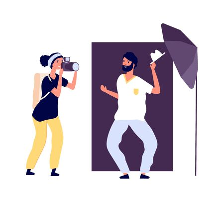 Photo studio. Actor posing photographer. Professional photo session for portfolio with equipment and accessories. Flat style smiling man vector illustration. Photo studio, photographer professional
