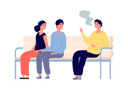 Smoking in public place. Man smoker, couple are passive smokers. Drug or nicotine addiction, people with bad habit. Relaxed guy vector character. Public smoke, smoker addiction unhealthy Vettoriali