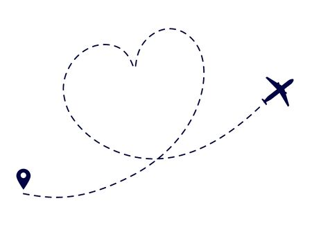 Heart plane route. Love plane path. Airplane flying destination. Lovely romantic traveling honeymoon. Dotted flight way vector illustration. Travel romantic aviation, flight line dotted