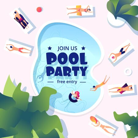 Pool party. Summer swimming event flyer. Water splashing, resort or vacation festive banner design. Vector fun people swim and take sunbath template. Summer event, holiday swim pool party illustration