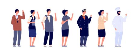 Hotel staff. Hospitality employee, job team wearing uniform. Isolated worker group, flat doorman, manager chef. Service people vector set. Hotel team, employee worker hospitality illustration