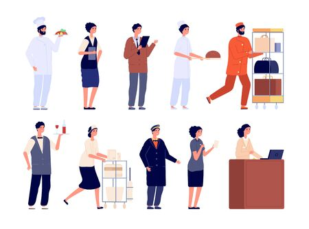 Hotel team. Worker staff, hospitality job employee. Isolated flat manager cleaner receptionist doorman. Restaurant service vector characters. Illustration employee worker in hotel, job hospitality