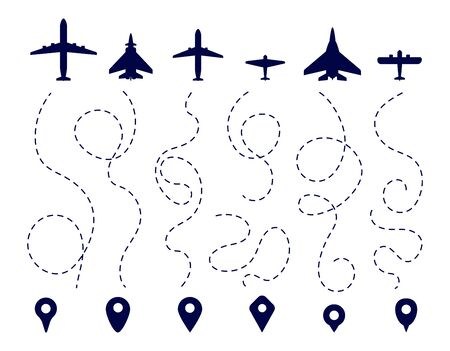 Aircraft route. Plane direction trail. Flight dotted line, aviation travel paths. Map navigation, pin pointers airplane vector set. Illustration aviation flight line dotted, airplane route destination