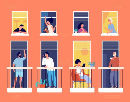 People on balcony. Modern apartment building, neighborhood life. Neighbours looking, communication, reading and drink coffee vector concept. People on balcony, person isolation read book illustration