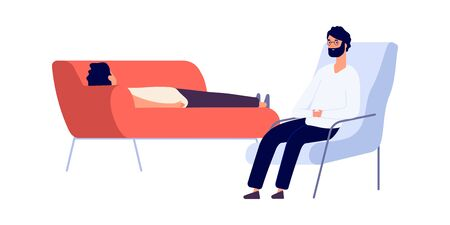 Psychotherapist and patient. Flat man on psychotherapy session. Psychologist consulting depressed guy vector illustration. Psychotherapist or psychologist, psychiatry and psychology therapy
