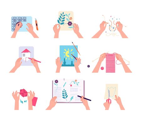Hand crafts. Hands drawing writing knitting, doing scrapbook. Kids lab or adult workshops. Isolated top arm with pen brush scissors vector set. Art craft, needle sewing, drawing workshop illustration