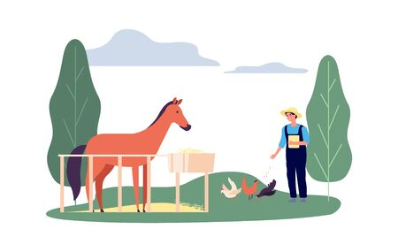 Animals farming. Man, corral horse hens. Flat farmer feed birds. Agricultural worker with chicken and pony vector illustration. Farm horse and hen, farming rural, animal and chicken countryside Stock Illustratie