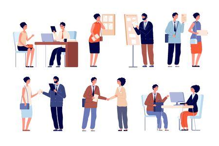 Hr Arbeitgebergespräch. Geschäftsteam und Büroangestellter. Suchende mit Lebenslauf-Bewerbung und Recruiting-Service. Anwaltsberatung Vektor-Set. Bewerbungsgespräch, Arbeitgeber- und Arbeitnehmerillustration
