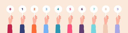 Hand holding cards. Judges marks, color scorecards in hands. Competition scores or feedback, game contest numbers tables. Voting vector set. Score number holding and showing for voting illustration
