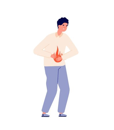 Heartburn. Person stomach problem, gastroesophageal reflux or high acidity. Gastric disease, man bloating abdomen pain vector illustration. Heartburn problem, digestive and stomachache