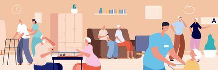 Nursing home. Old woman man living in senior house. Doctor nurse care elderly people. Happy retired, gerontology patient vector illustration. Old senior, nursing and caregiver, retired healthcare Illustration