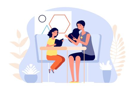 Personal young teacher. Private education, girl intern. School girl learning with woman, tutor for preschool children. Part time kindergarten or beginning professional in teaching vector illustrationk