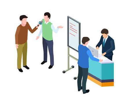 Business presentation. Isometric businessman, guy giving interview. Conference or product advertising, marketing vector illustration. Manager briefing and presentation board isometric