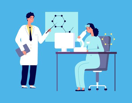 Scientists characters. People in white lab coat, chemical researcher with laboratory clinical equipment. Isolated researcher do research, chemist test. Vector illustration