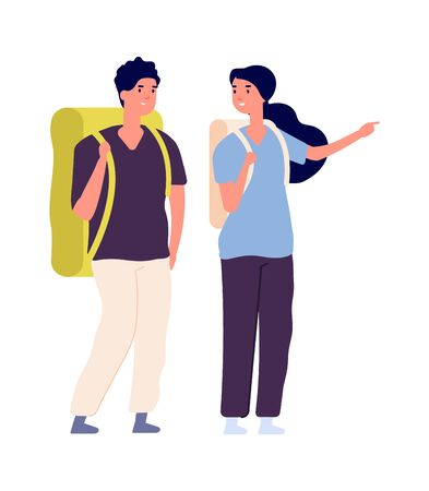 Travellers couple. Man woman travel with backpacks. Isolated happy people find trip, tourists vector characters. Backpacker woman and man, tourism hiking couple, vector illustration