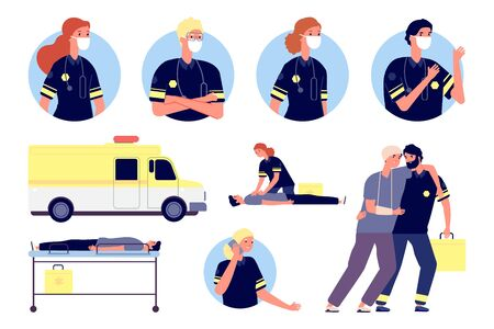 Emergency help. Paramedics characters, first aid and saving people. Medical team working, ambulance and doctors avatars. Hospital staff vector illustration. Emergency doctor help, medical service