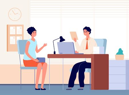 Interview with boss. Job occupation, female communication in office with businessman or hr manager. Recruitment employee vector illustration. Business hr candidate, recruitment office, hiring woman Ilustración de vector