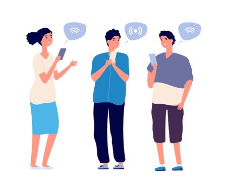 People using phones. Flat woman man with smartphones search wifi. Isolated cartoon students, teenagers chatting in social network vector illustration. Man searching wifi signal for networking