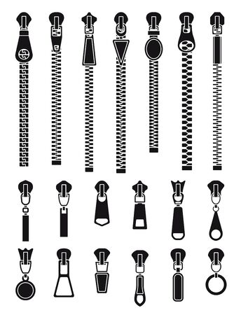 Zipper silhouettes. Textile zip pull, isolated clothes closure locks. Fashion pulling buckle, tailoring pants vector set. Zip fastener clothing, zippered, connection silhouette zipper illustration