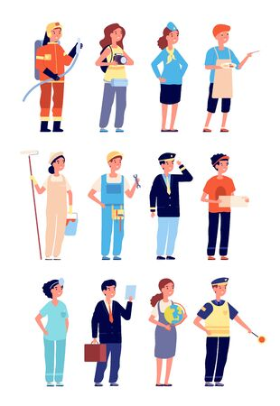 Kids in professional uniform. Child professions and jobs, boy girl occupation. Isolated cartoon children playing teacher builder vector set. Profession policeman, job pilot, professional illustration