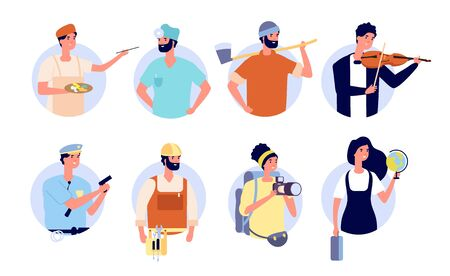 Professional avatars. Different profession people with work tools and equipment. Woman man teacher, doctor builder policeman vector set. Avatar worker in uniform, occupation labor illustration  イラスト・ベクター素材