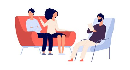 Family psychotherapy session. Psychotherapist talking with partners. Flat woman angry at man. People on sofa and psychologist vector illustration. Therapy for couple marriage, therapist mental session