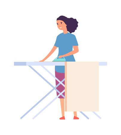 Woman ironing. Housewife doing housework. Flat female character with iron. Isolated cute woman vector illustration. Housewife ironing, do housework, woman iron clothing  イラスト・ベクター素材