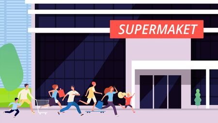 Crowd run to supermarket. Sale discount, store building. Cartoon man woman kids shopping. Excitement or hype, race for goods vector illustration. Supermarket and crowd people run to discount and sale