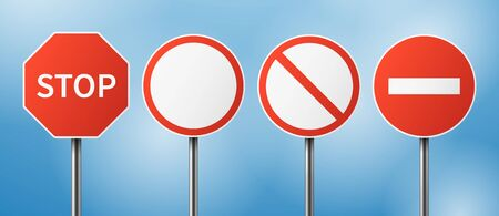 Stop road sign. Blank street traffic, danger stopping gesturing boards. Travel signage vector set. Street warning sign, traffic stop information illustration