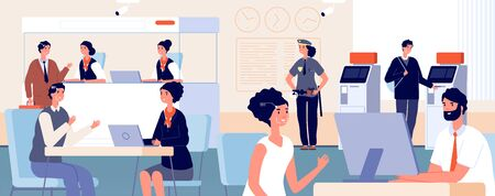 Clients in bank office. Modern finance service department, face id identification. Customers and banking credit managers vector illustration. Office bank department, service finance interior Stock Illustratie
