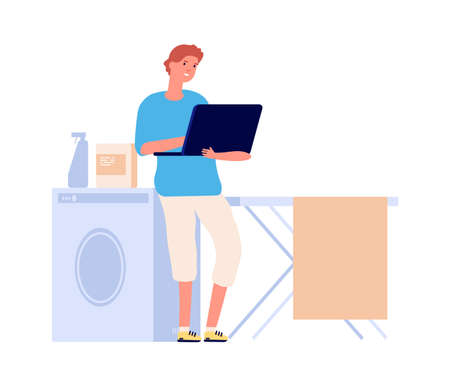 Internet addiction. Man surfing internet in laundry room. Flat male character chatting or gaming online. Isolation period vector illustration. Male with computer surfing, man in laundry with laptop