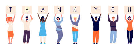 People holding thank you. Woman man standing with plates letters. International crowd thanks doctors paramedics police and other vector illustration. Thank you friendly holding banner with letters