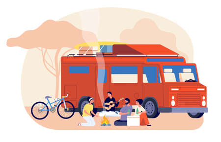 Travel on car. Friends journey, nature stay. Young people travelling on auto. Tourists with backpack sitting fire vector illustration. Travel picnic friend, tourist lifestyle, traveler guy outdoor