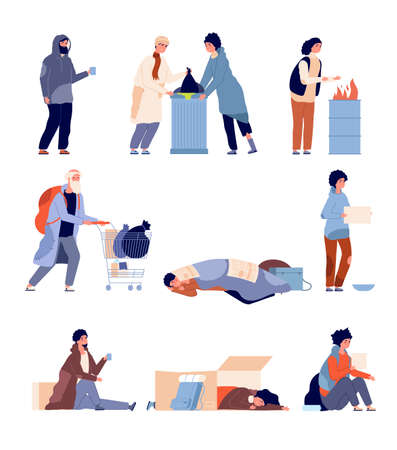 Homeless people. Beggar person, poor man need helping and charity. Isolated cartoon poverty dirty and hungry refugees vector illustration. Homeless and beggar, man poverty need help