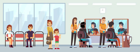 Queue in barber shop. People waiting haircut, cartoon women men child in parlor. Hairdressing salon waiting line, happy male female hairdresser vector illustration. Queue to hairdresser in barbershop